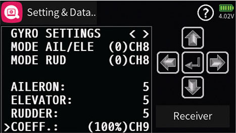 the final gyro settings are done in the special settings menu and can be confusing