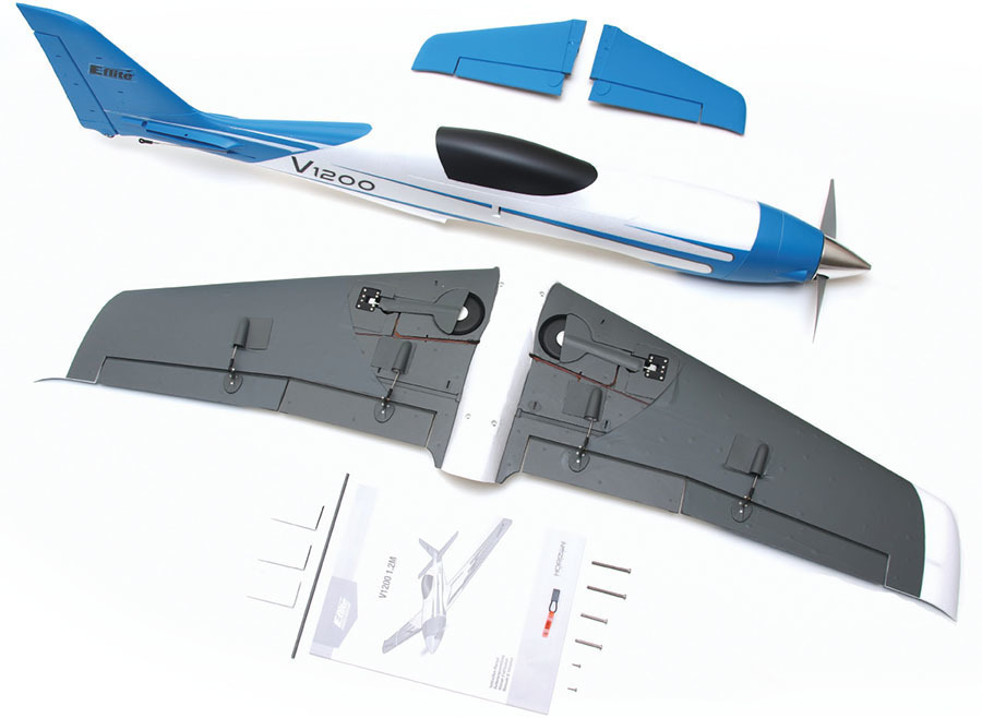 the horizon hobby e flite v1200 comes out of the box factory